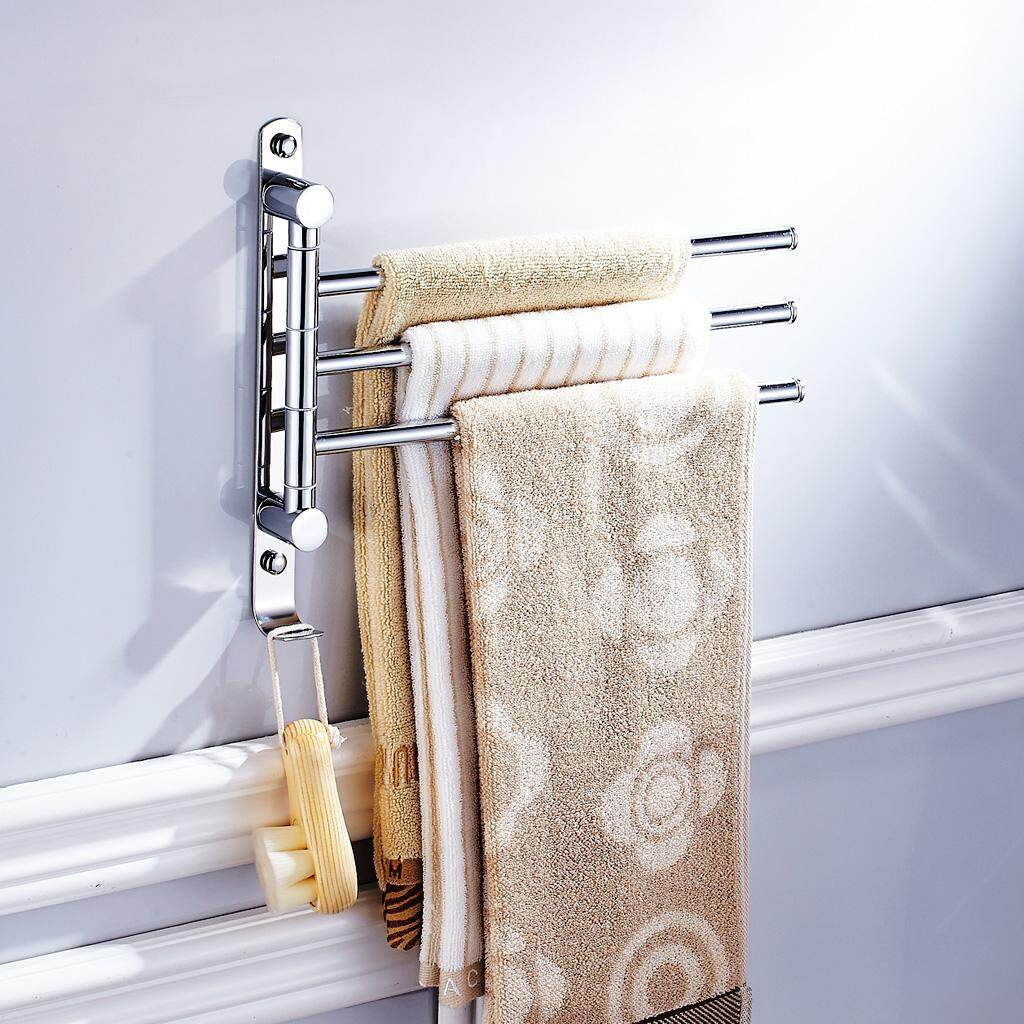 Bolehdeals Bath Accessory Towel Rack Swivel Tower Bar Rail Storage Shelf Silver 3 Arms By Bolehdeals.