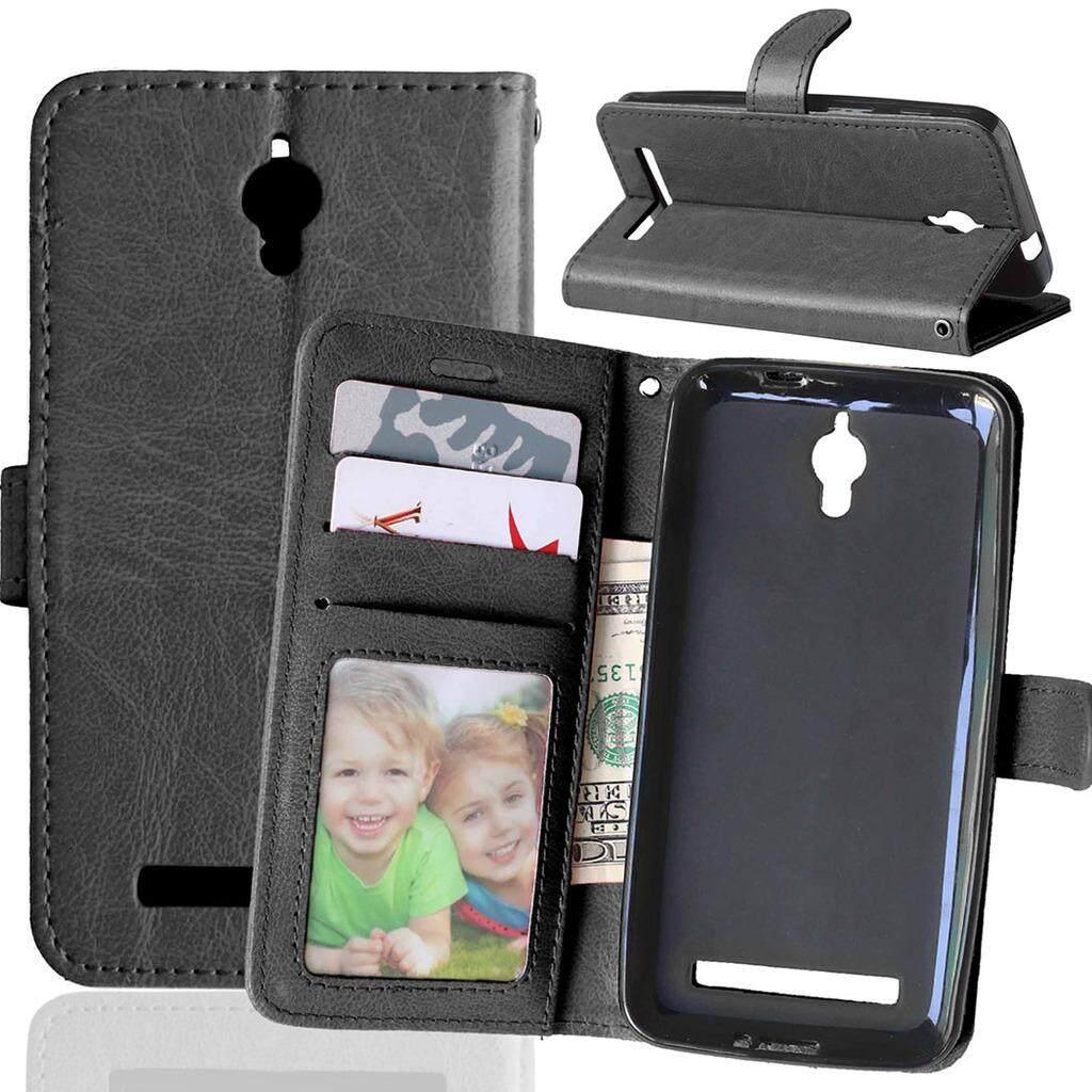 Asus Zenfone C ZC451CG Case, Bujing Kulit PU Hitam dan Dompet TPU, Slot Kartu, Berdiri, bingkai Foto PENUTUP UNTUK Asus Zenfone C ZC451CG (4.5