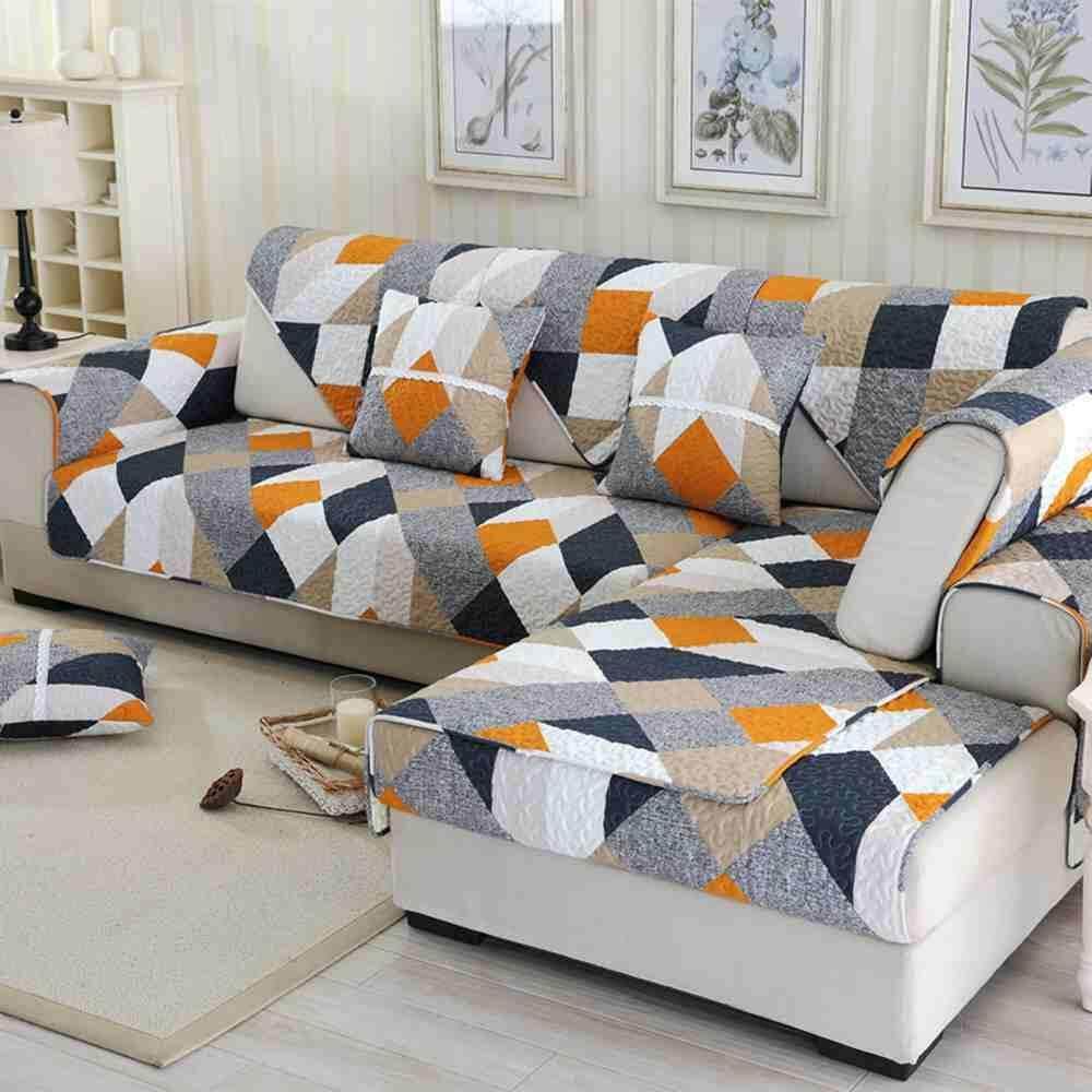 วัตสันส้มสีส้มรูปแบบผ้าคลุมเตียงโซฟา Slipcover Plush โซฟาผ้าลื่นผ้าคลุมโซฟามุมผ้าเช็ดตัวเสื่อสำหรับห้องนั่งเล่น 110x160 ซม. By Watson.