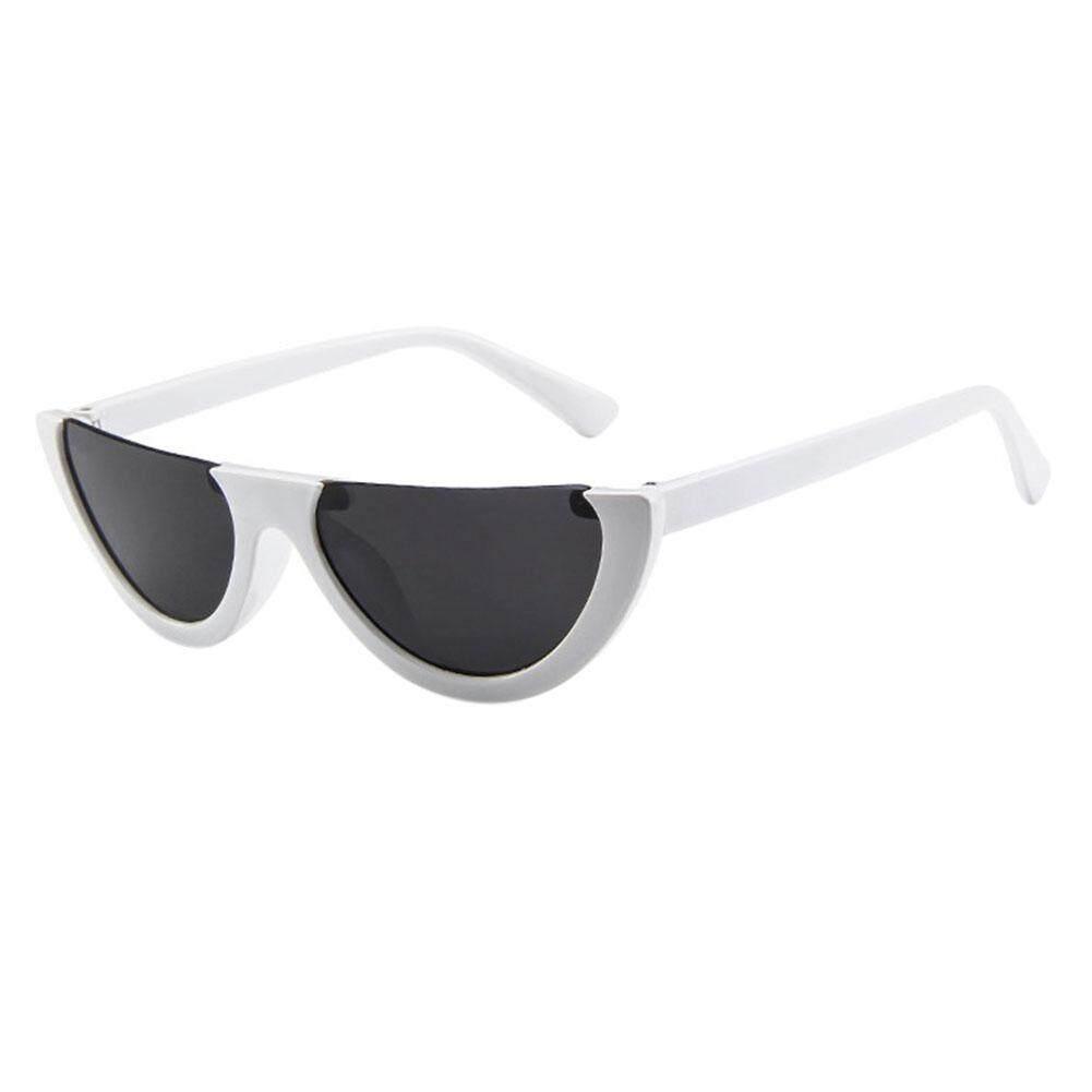 Unik Fashionable Setengah Bingkai Kacamata Hitam Snap Jalan Kacamata Pesta  Warna  Bingkai Putih dan Abu db87ce9b36