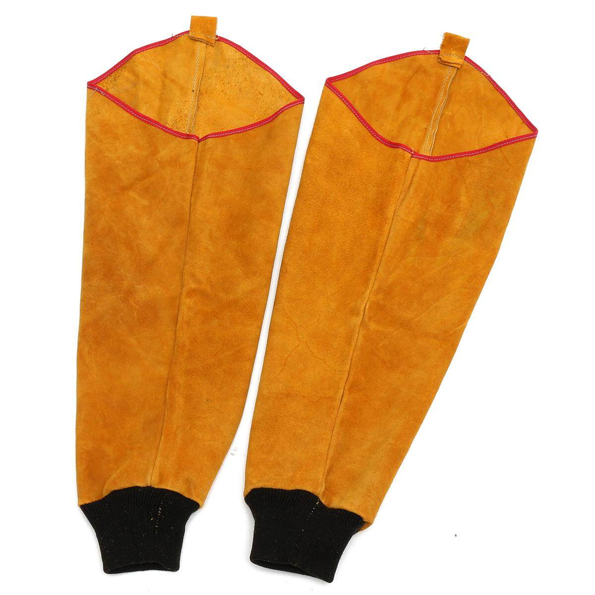 One Pair Cow Leather Welding Sleeves with Elastic Cuff,Welders Leather Sleeve