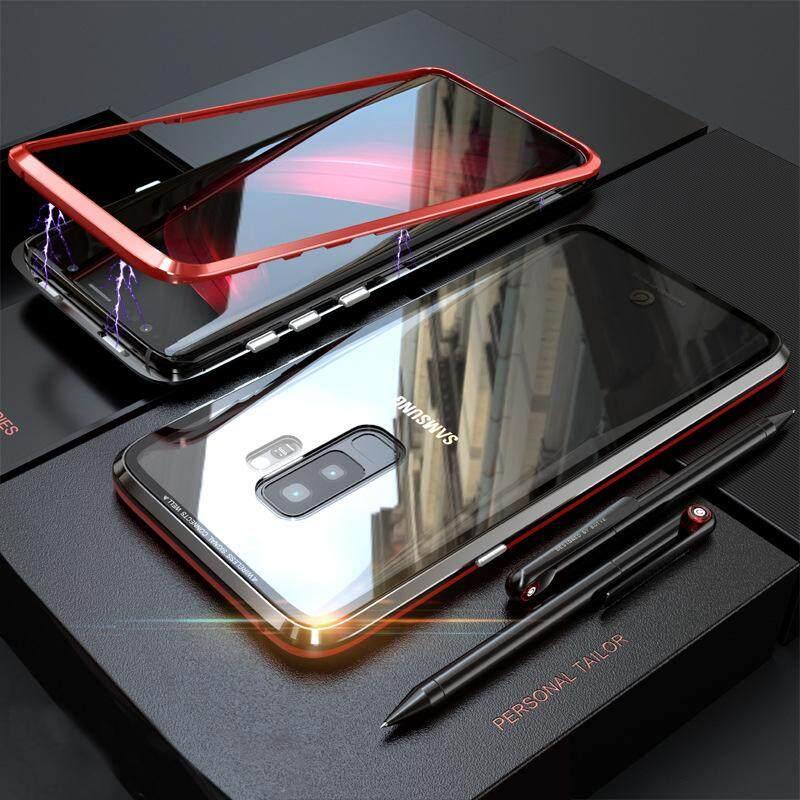 Update Baru Adsorpsi Magnetik Casing Logam untuk Samsung Galaxy S9 Plus + Penutup Kaca Transparan Generasi