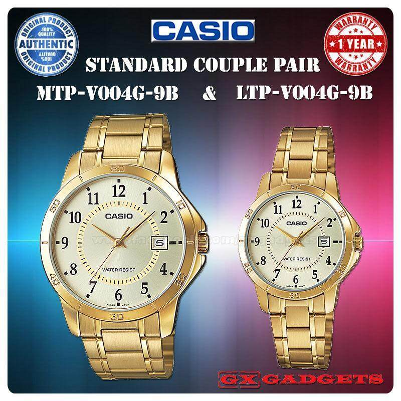 CASIO MTP-V004G-9B + LTP-V004G-9B STANDARD Analog Couple Pair Watch Date Gold Case Stainless Steel Band Water Resistant MTP-V004 LTP-V004 V004 Series Malaysia