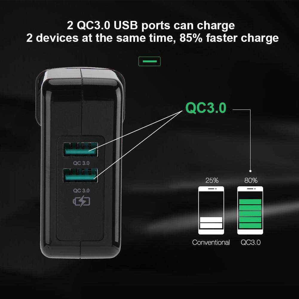Ybc Portable Travel Quick Fast Charge Qc 3 0 Rapid Wall Charger For Zola Thunder 2q Qualcomm 30 Usb 2 Outputs Black Port Qc30 30w