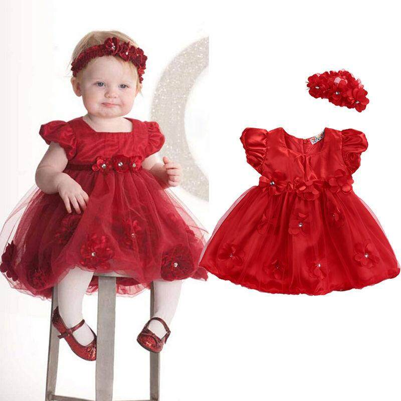 76123994e 2PCS/Set Baby Newborn Girl Kids Princess Dress Lace Pageant Party Dress +Headband