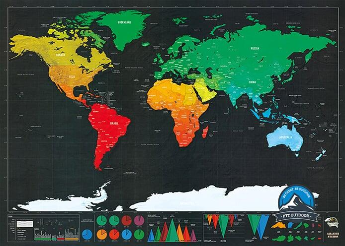 [ BEST SELLER ] 82.5 x 59.4 cm Deluxe Travel Edition Scratch Off World Map Poster Personalized Journal Log Gift - Black