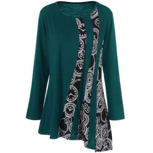 PLUS SIZE PRINTED ASYMMETRIC TUNIC T-SHIRT (BLACKISH GREEN)