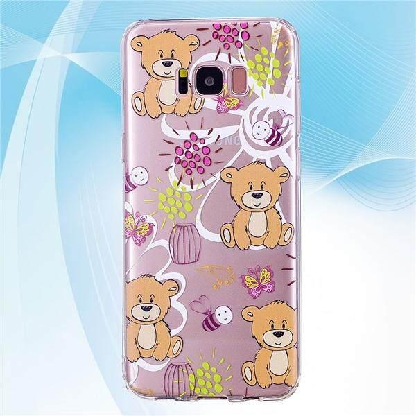 Desain Kartun Lucu Telepon Penutup Transparan TPU Case Lebah dan Beruang Pola Lembut Pelindung Shell untuk