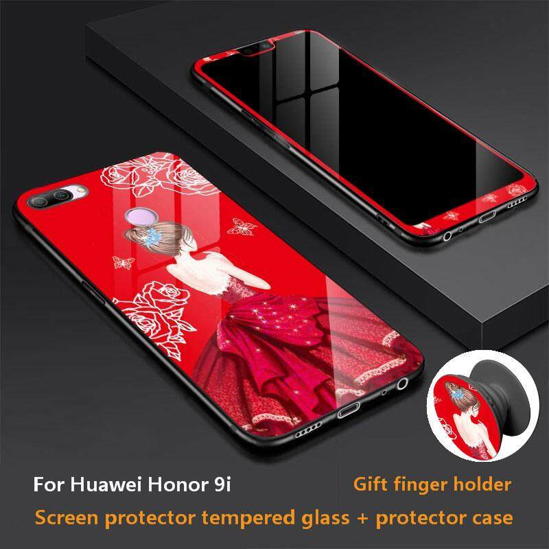 Huawei Honor 9i Casing Mewah Terbaru 360 Derajat Perlindungan Menyeluruh Ponsel Kaca Tempa Casing untuk Huawei