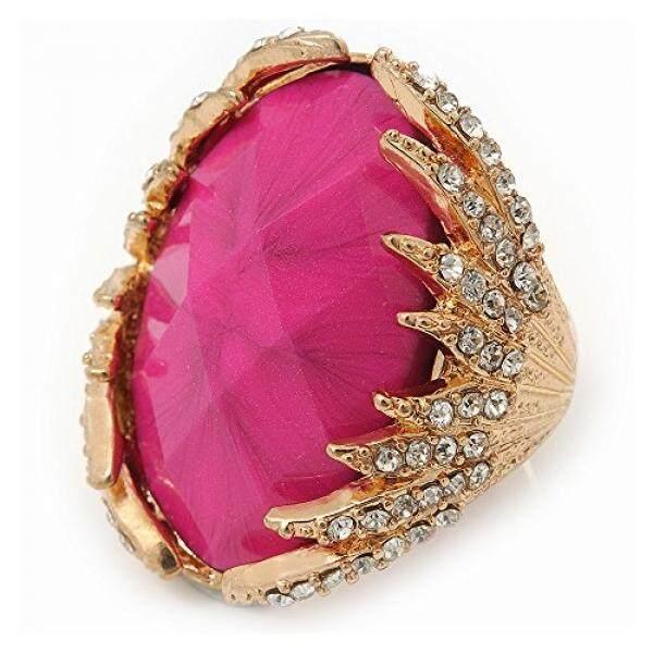 Oval Merah Muda Terang Resin Faset Batu diamante Koktail FLEX Ring Di Dilapisi Emas-35 Mm Di-Ukuran 7/8-Intl