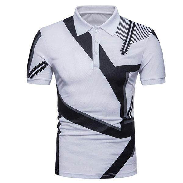 Men's New Geometric Print Fashion Euro Short Sleeve Polo Shirt - intl