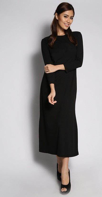 JF Fashion Long Sleeve Inner Dress in Black 803 (Inner Labuh)