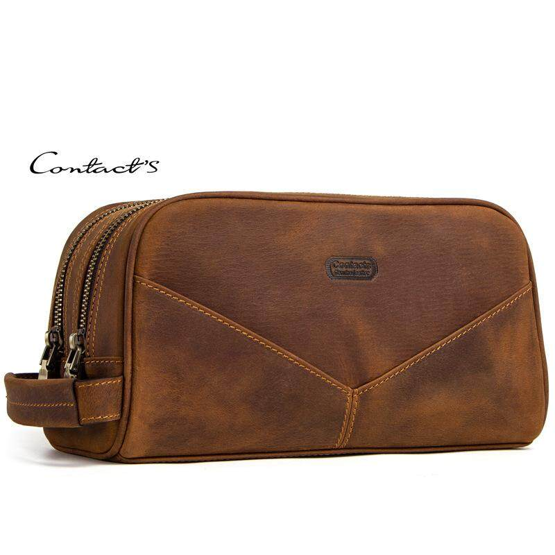 c2462a2e34 CONTACT S genuine leather cosmetic bag for men vintage crazy horse leather  man make up bags small