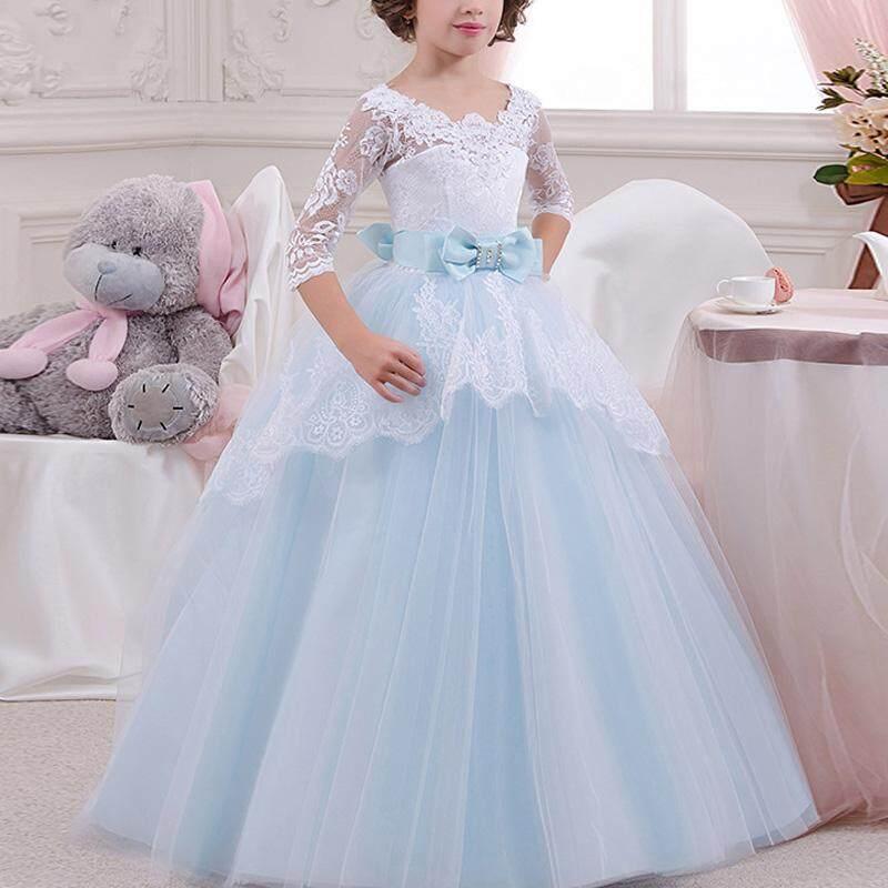 Hình ảnh Summer Girl Long Dress Lace Flower 3/4 Sleeves Backless Bow Tie Wedding Girls Princess Dresses - intl