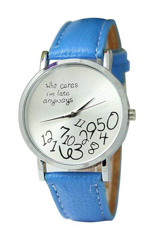 Arab numerals Leatherlet watches Quartz Analogue, Rosa, Unisex Watches, light blue