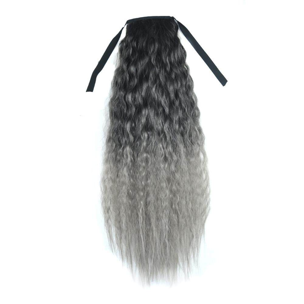 Gradient Color Ribbon Wavy Curly Long Ponytail Horsetail Clip Hair Extensions - intl