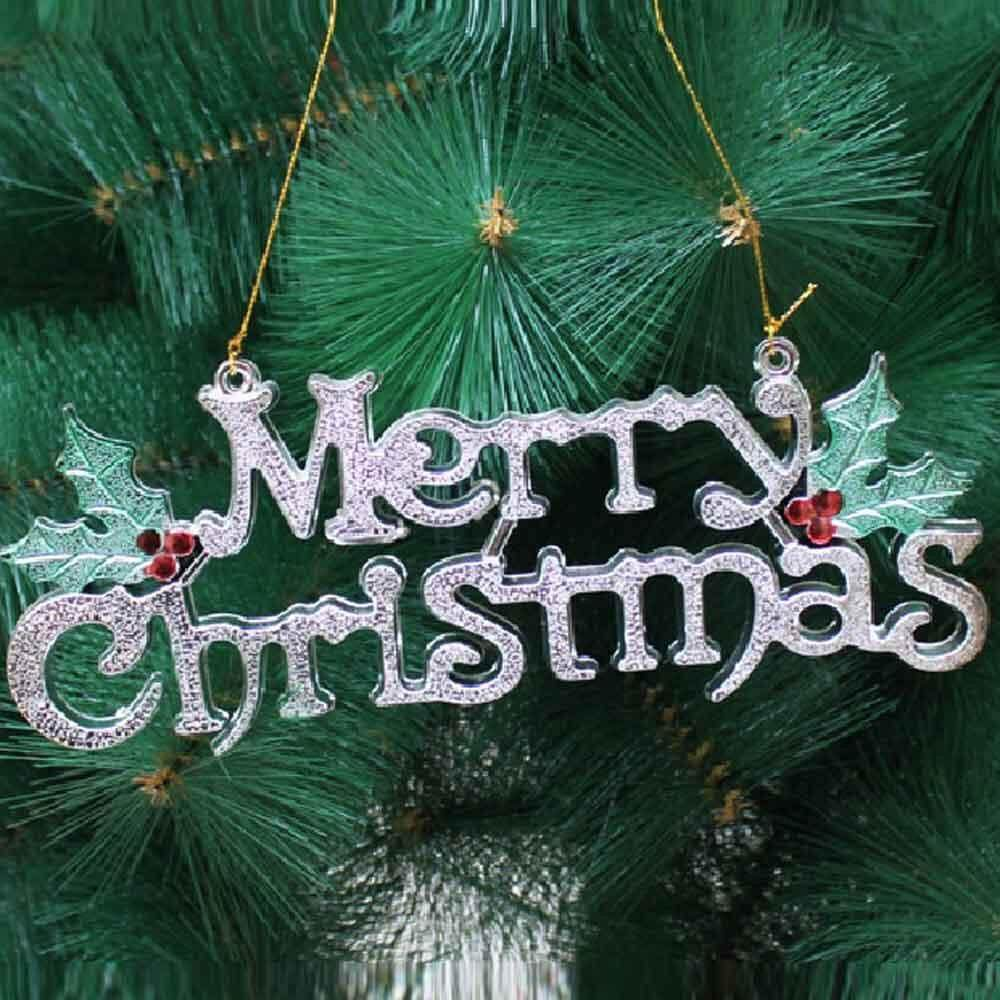 Clearance Sale Silver Merry Christmas Festival Tree Hang Letter Decoration XMAS  Door Decor New   Intl