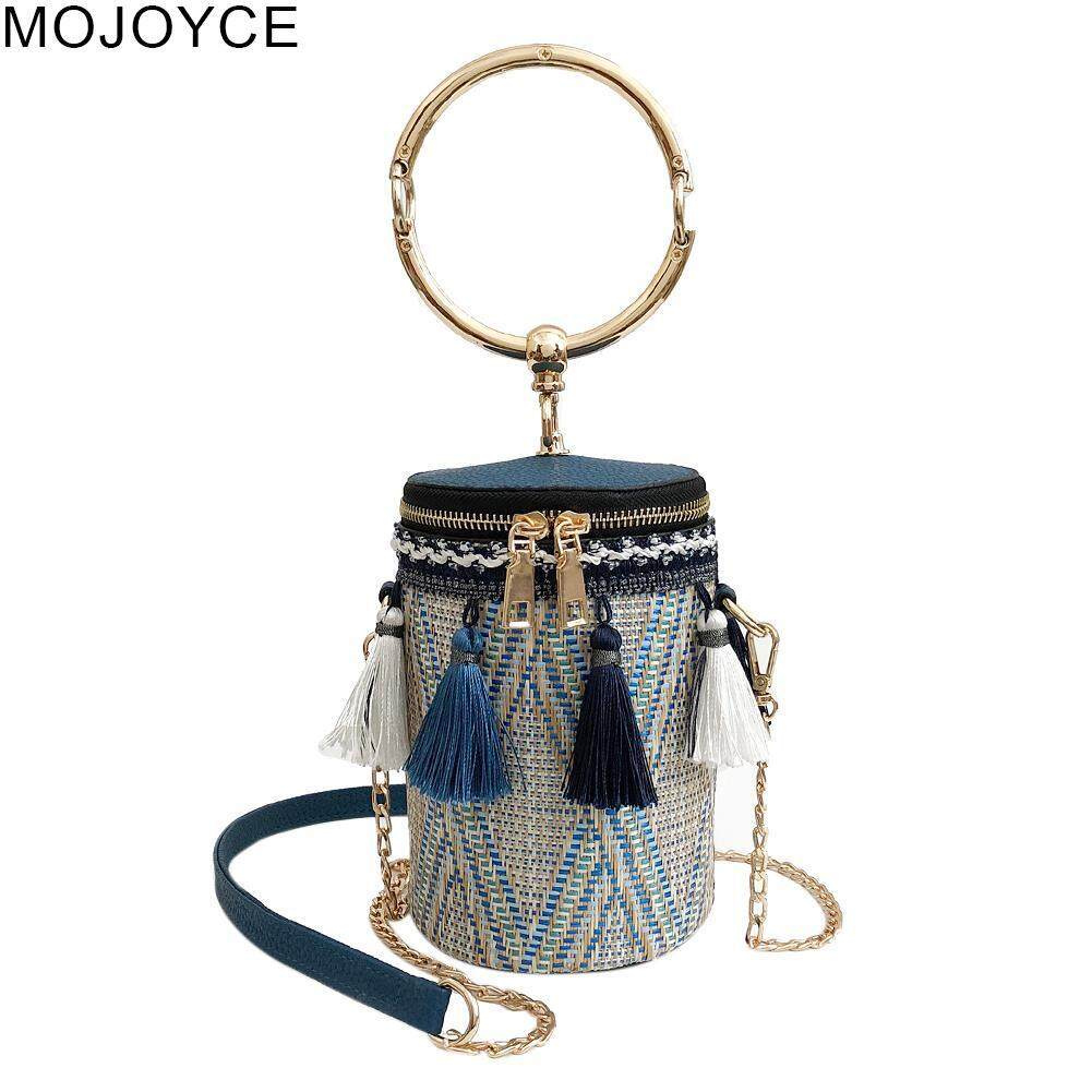 4d9fcfadfc96 MOJOYCE Women Folk Bucket Cylindrical Straw Woven Handbags Ethnic Barrel  Tassels Chain Zipper Shoulder Crossbody Bags