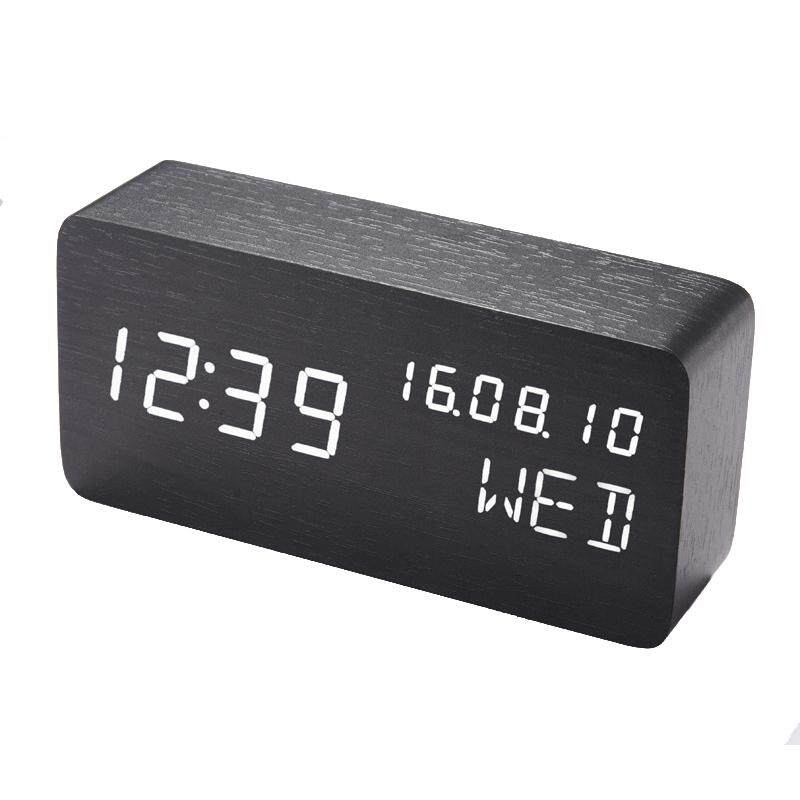Led Alarm Clock,Wooden LED Digital Alarm Clock, Displays Time Date Week And Temperature, Cube Wood-shaped Sound Control Desk Alarm Clock for Kid, Home, Office, Daily Life(Black)
