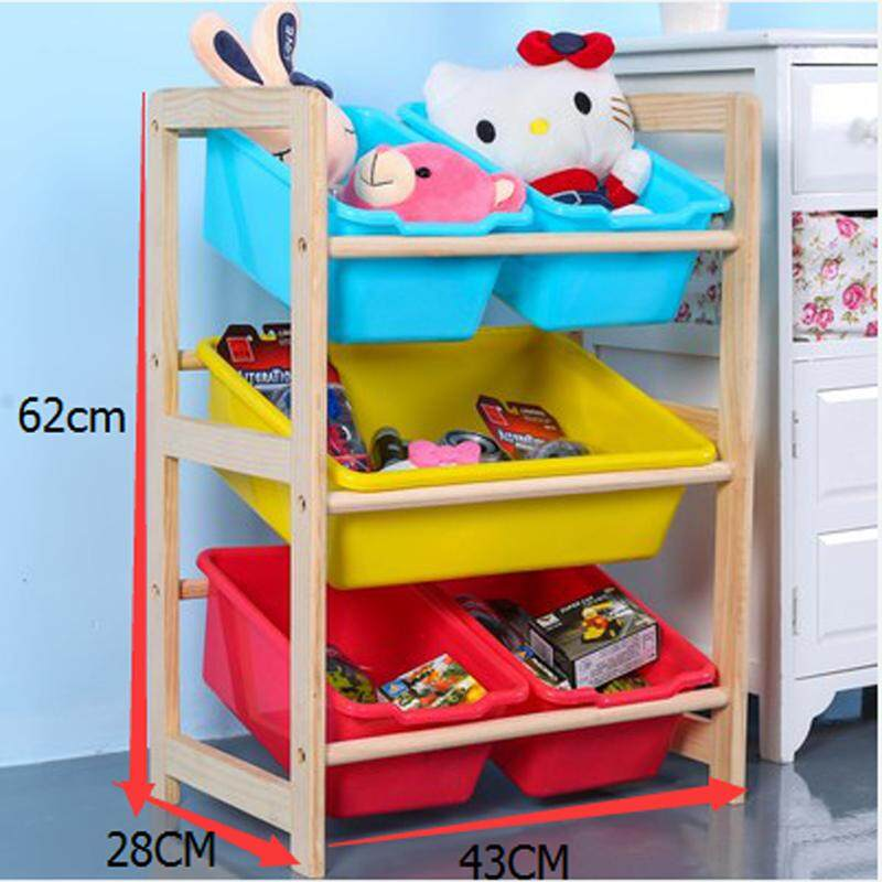 RuYiYu - 43 X 28 X 62cm, Kids Toy Organizer and Storage Bins, 5-Bins in Fun Colors, Toy Storage Rack, Natural/Primary