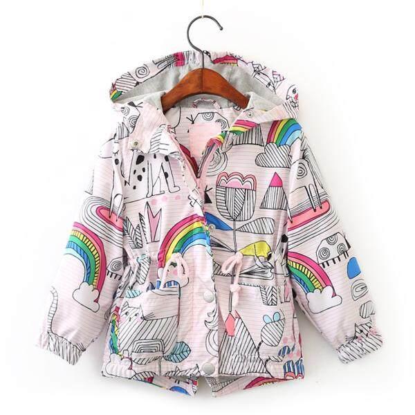 Giá bán Rainbow Print Girls Clothes Outerwear Hooded Kids Coats and Jackets Children Coats - intl