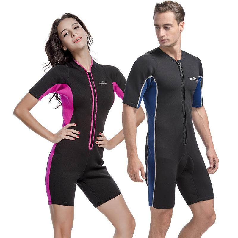 a5a1b50b3 SBART Men and Women 2mm One-piece Neoprene Wetsuit Short Sleeve Shorts  Diving Suit for