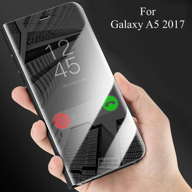 Untuk Samsung Galaksi A5 2017 Casing Mewah Pelapisan Spion Pintar Lipat Sarung Bening Transparan Selubung untuk Samsung A5 2017 PU Kulit Telepon Perumahan-Internasional