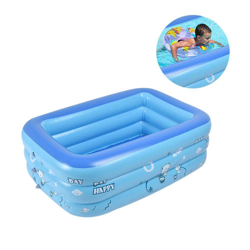 Inflatable PVC Swimming Pool Swim Rectangular For Kids Adults Blue 120 1300CM
