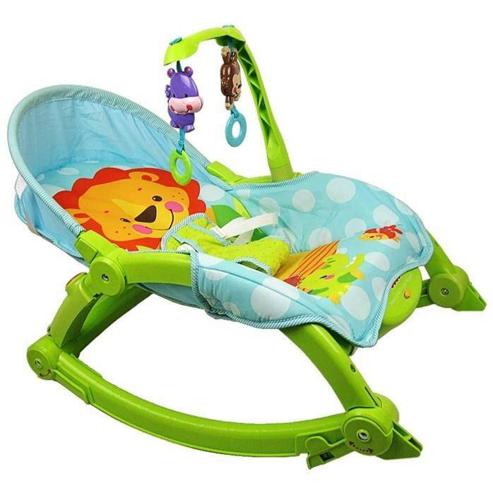 Toddler Portable Rocker Plastic Green w/Two Overhead Toys and Seat reclines into three different positions for comfort +MYSTERY GIFT