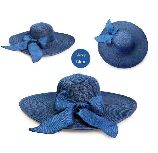 b0e444c9a4098 Baru Topi Jerami untuk Wanita Musim Panas Musim Semi Wide Topi Pantai Yang  Lebar Topi Matahari