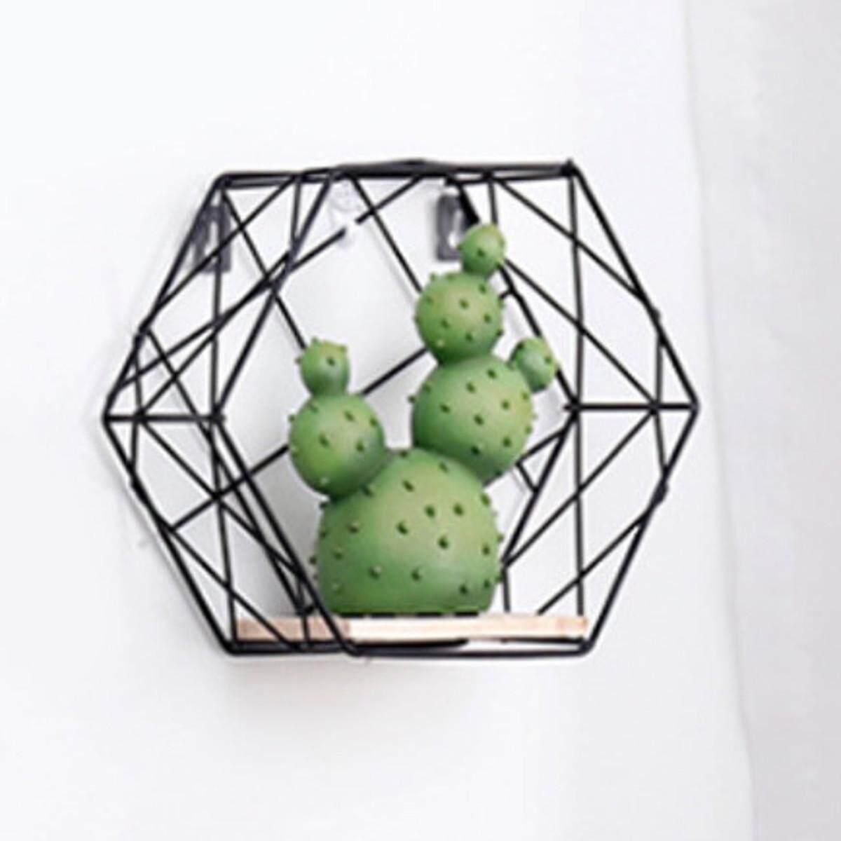 Hexagon Metal Wall Hanging Shelf Rack Storage Rack Holder Organizer Trellis Design