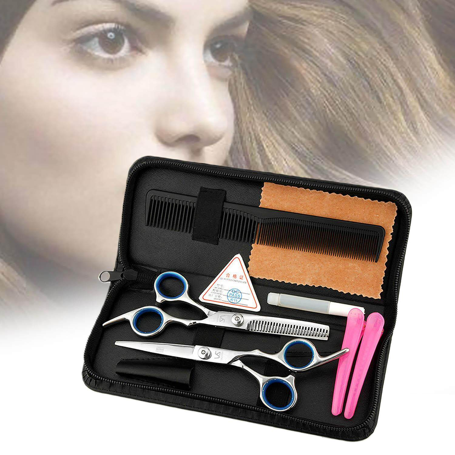 7pcs Professional Hairdressing Scissors Tools Kit Comb Hair Clip With Storage Bag Case For Family Home Hair Cutting - Intl By Stoneky.