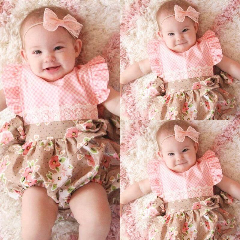 Manis Polka Dot Pakaian Tuan Putri Bunga Gaun Ulang Tahun Bayi Baru Lahir Musim Panas Pakaian