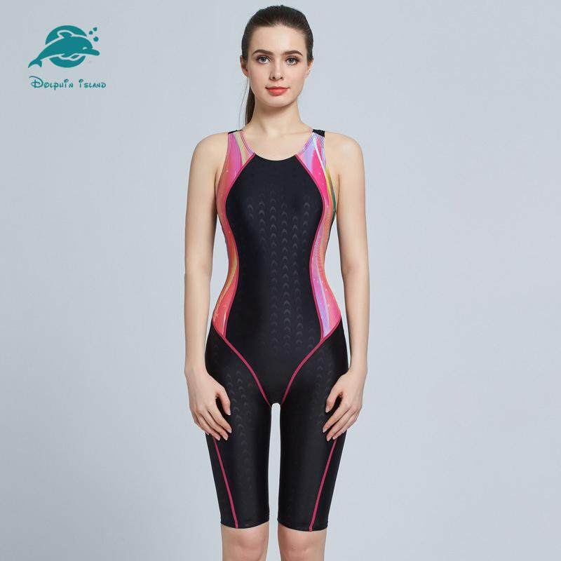 Women Racing Professional Swimsuit Sport Knee Length Sleeveless Swimwear Diving Surfing One Piece Swimsuit Bathing Suit