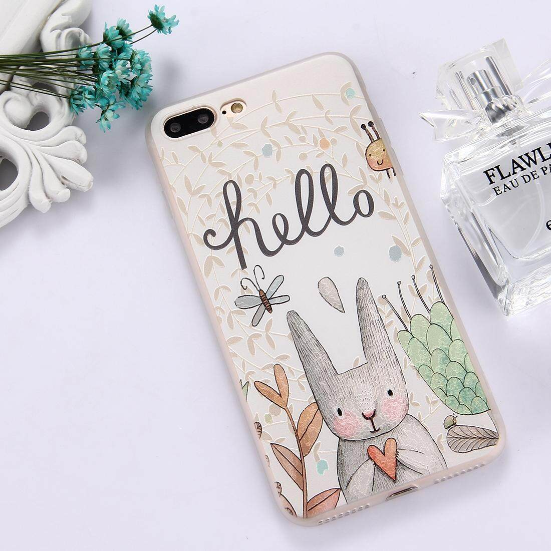 For iPhone 8 Plus & 7 Plus TPU Frosted Embossed Hello Word Grey Rabbit Pattern Protective Case Back Cover - intl