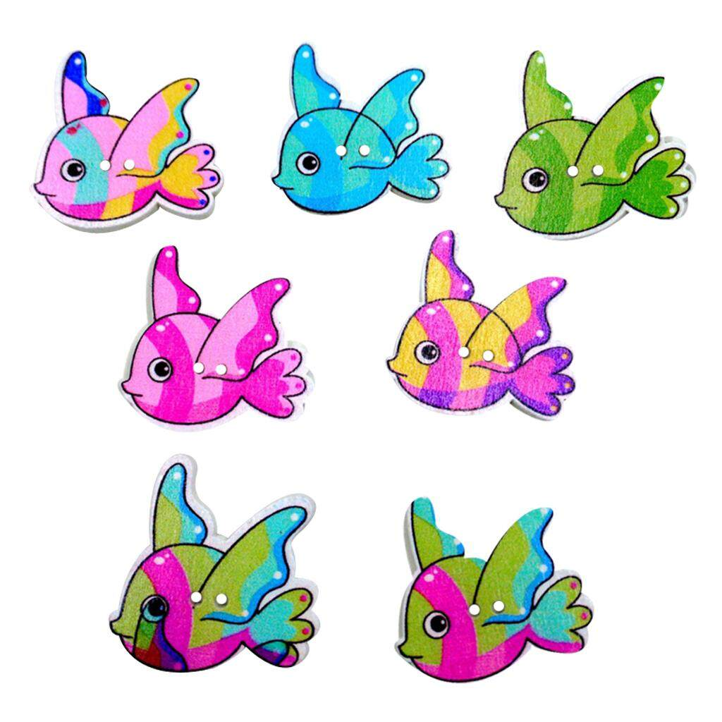Magideal 100pcs Colorful Fish Wooden Buttons Two Holes Embellishment Craft Diy 30mm By Magideal.