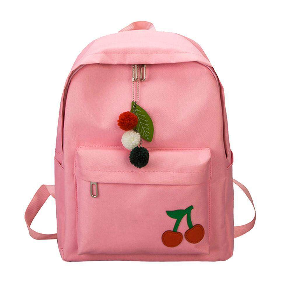 Domybestshop Simple Cute Cherry Women Girls Canvas Backpacks Travel Casual Zipper Shoulder School Bags Rucksacks By Domybestshop.
