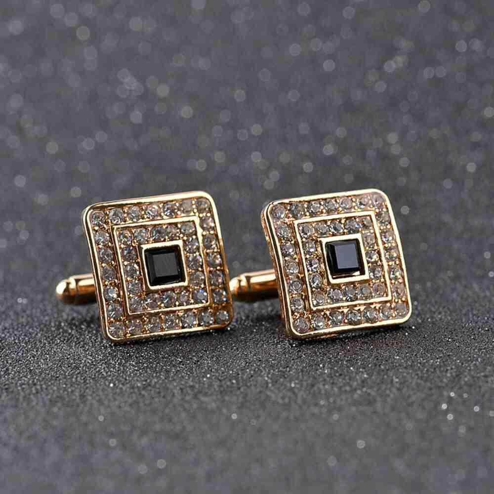 Fitur Houseofcuff Cufflink Cufflinks Manset Kancing Kemeja French Cuff Gold Square Studded Black Sway Luxury For Mens And Women Diamonds Crystal Fashion Brand Botton High Quality