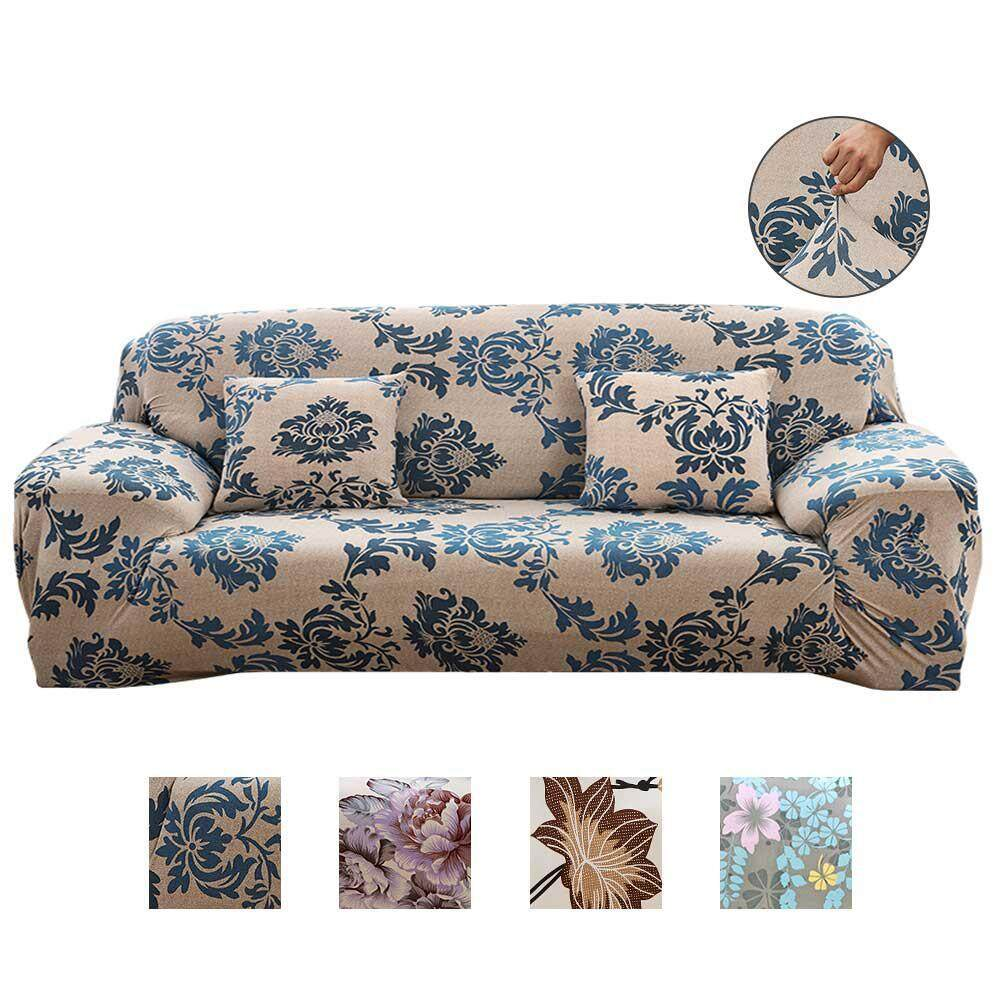 Oaken 4 Seater Sofa Covers, 2018 New Stretch Sofa Slipcovers Super Fit Living Room Furniture Protector With Printed Pattern, Snag Resistant & Soil Resistant - 235-300cm/93-118