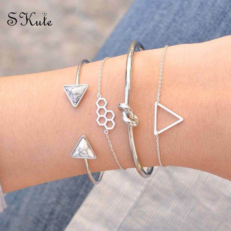 df13eecb3 ❤SKute 4pcs Bracelet Set Silver Triangle Simple Cute White Turquoise Metal  Molecules Bangle Chain Opening