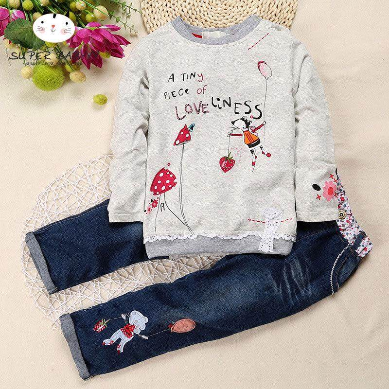 1f8c7192638b SBY Children Kids Girl Top Jeans Pants Set Long Sleeve Round Collar Fashion  Outfits