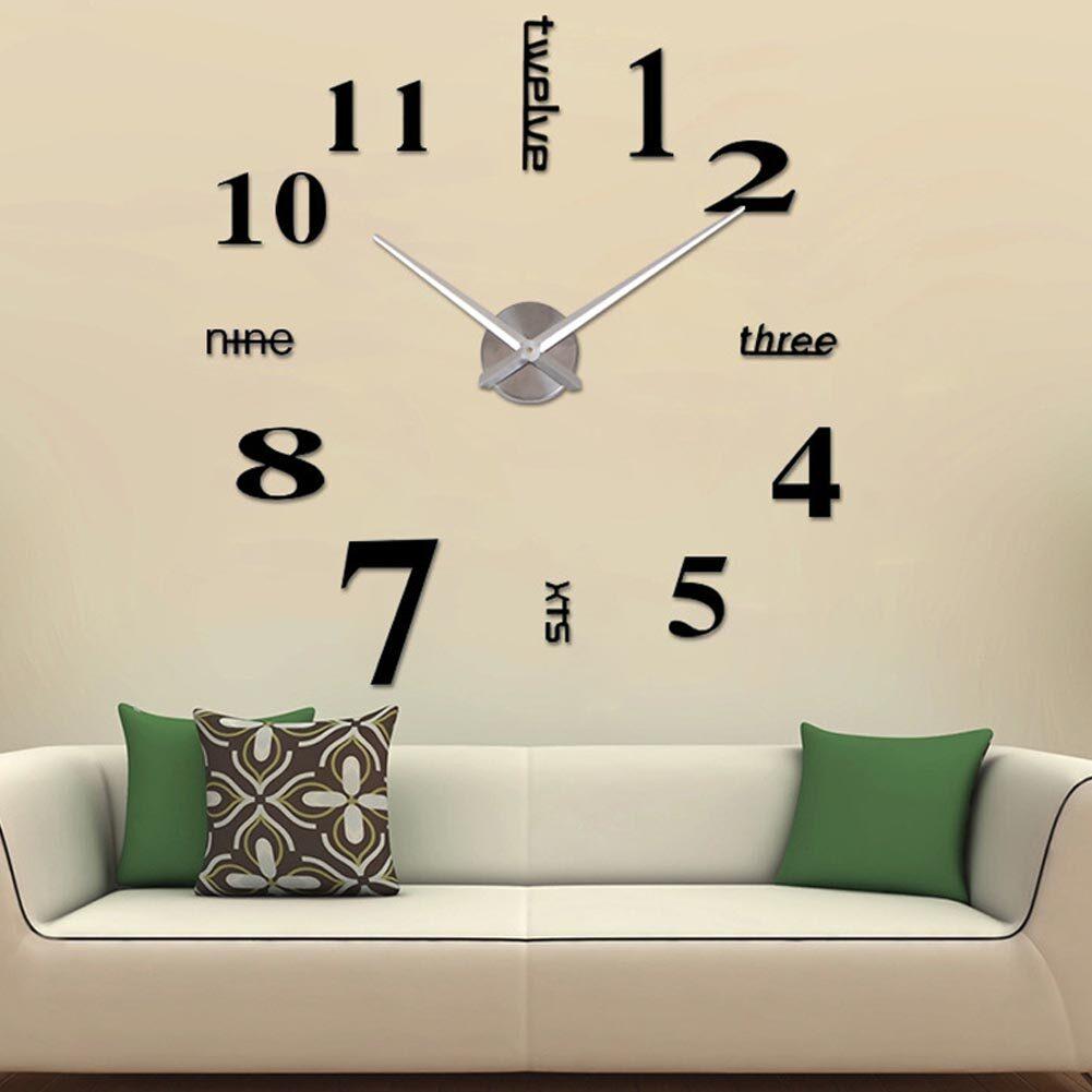 YBC DIY Acrylic Mirror Wall Clock 3D Art Large Clock for Living Room ...