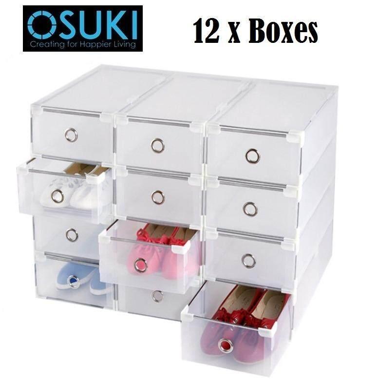 OSUKI Transparent Storage Box Drawer Type Shoe Rack (12 Box - White)