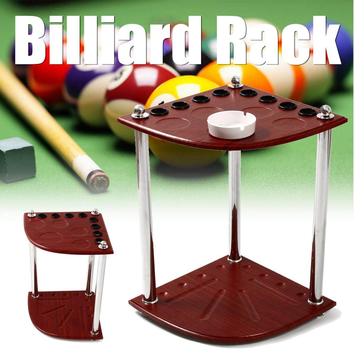 Wooden Corner Billiard Rack Pool Cue Snooker Table Balls Sticks Holder 8 Holes