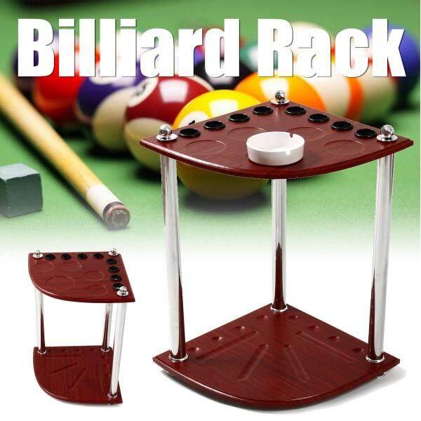 Wooden Corner Billiard Rack Pool Cue Snooker Table Balls Sticks Holder 8 Holes