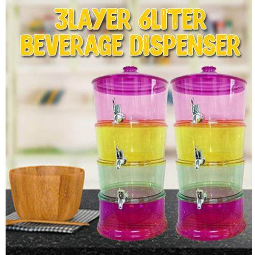 (3 Tier)6 Liter Gallons Stackable Colorful Beverage Dispenser With Ice Chamber