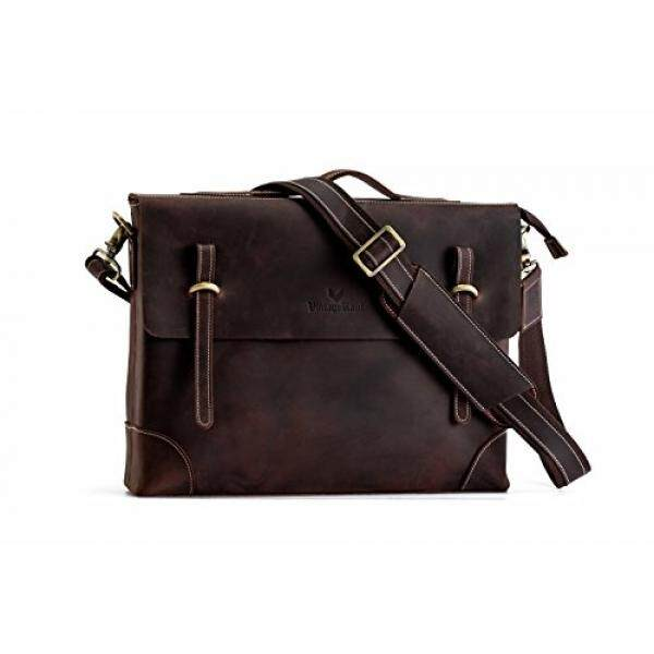 9e0c494f184 Laptop Messenger Bags Mens Leather Messenger Bag Blackish Brown15inch 100%  Italian Crazy Horse Leather