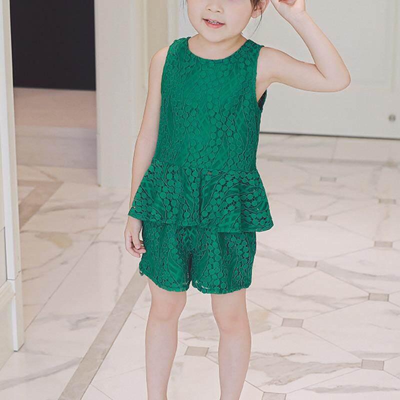 2 Pcs Gadis Lucu Musim Panas Set Lace Tanpa Lengan Kaus Berkerut + Celana Pendek Celana Pakaian Naju Anak Suit-Intl