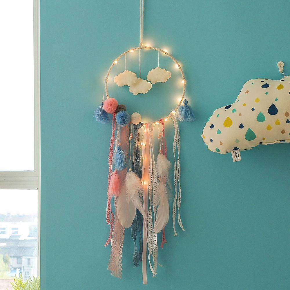 Aolvo Handmade Dream Catcher LED String Lights With Feathers For Home Decoration, Wedding, Boho Chic, Nursery Decor,Best gift