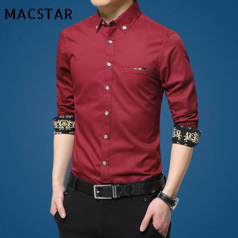 Macstar Fashion Slim Fit Long Sleeve Shirt for Men